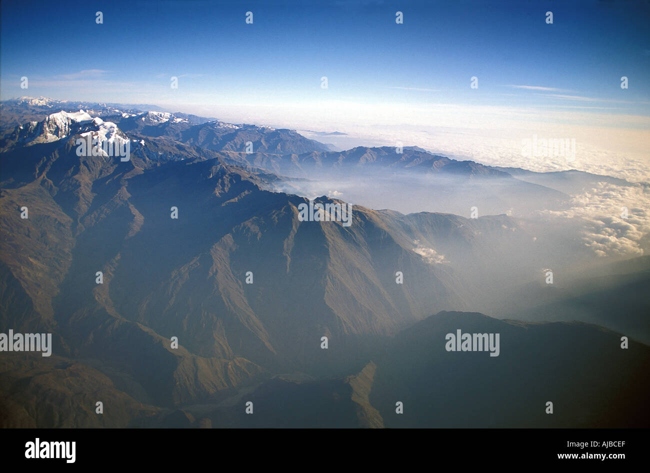 Aerial view of the Andes surrounding La Paz Bolivia whilst leaving from the capital s airport Cordillera Real Bolivia - Stock Image
