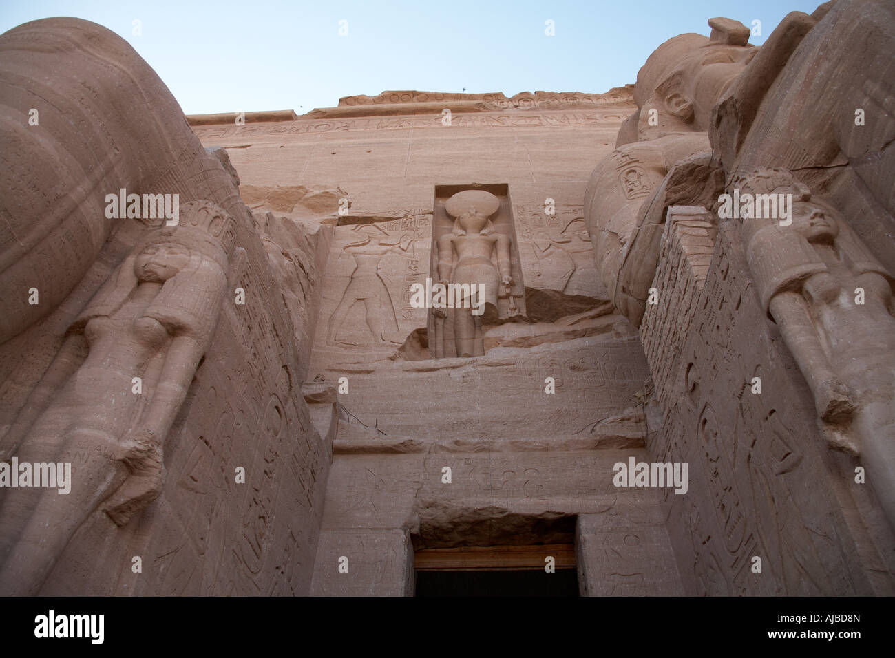 Carved stone entrance to the Temple of Abu Simbel Upper Egypt Africa - Stock Image