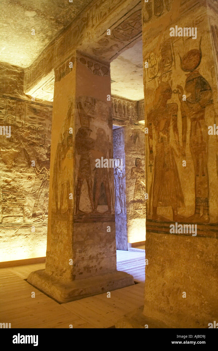 Carved stone columns with relief carvings in the vestibule of the Temple of Abu Simbel Upper Egypt Africa - Stock Image