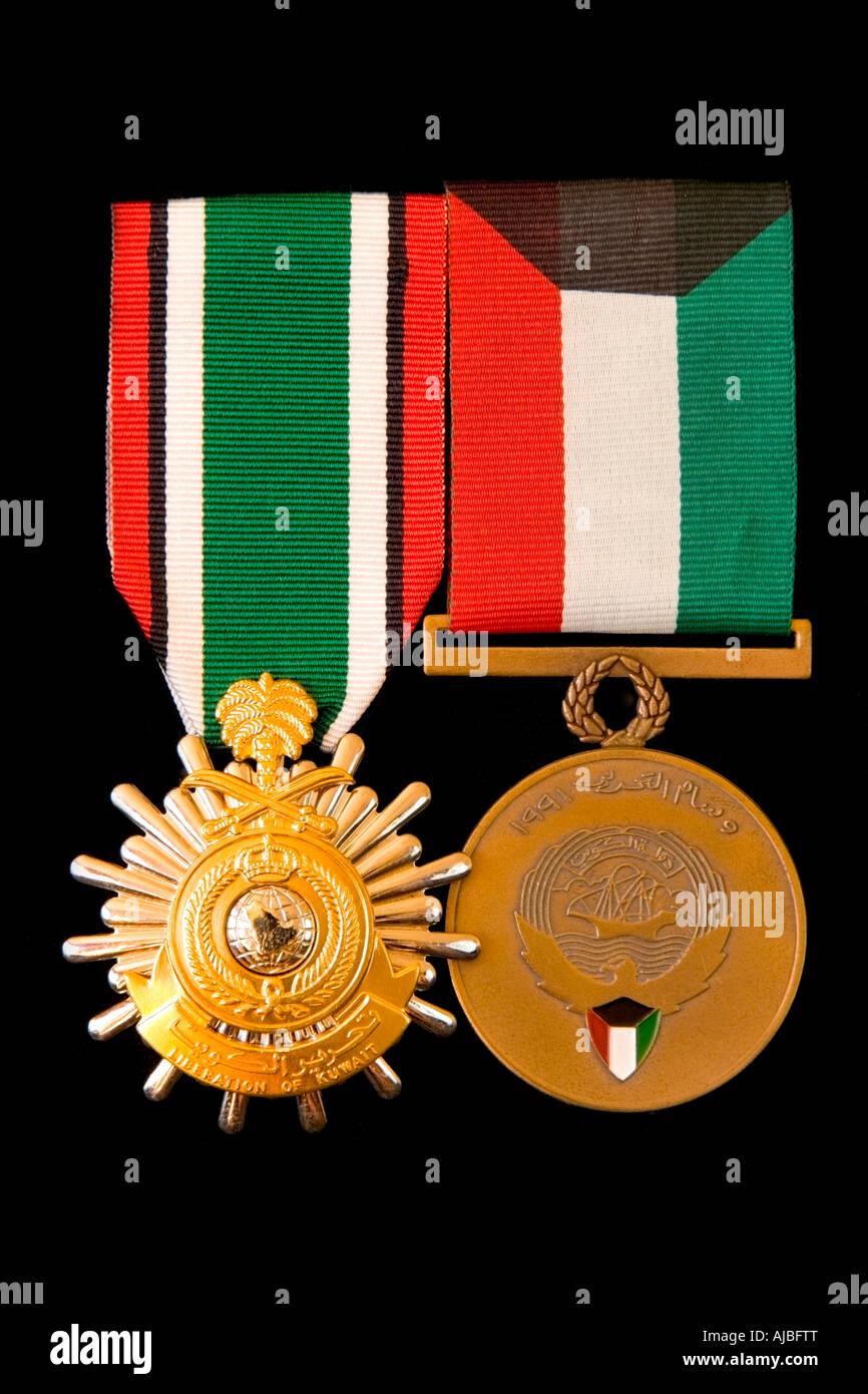 Saudi and Kuwaiti Gulf War medals and ribbon - Stock Image