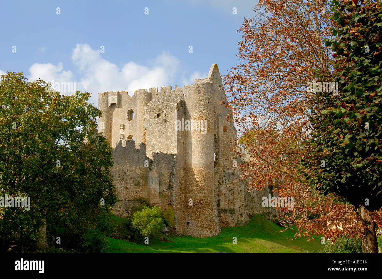 Ruined chateau, Angles-sur-l'Anglin (86260), Vienne, France. - Stock Image