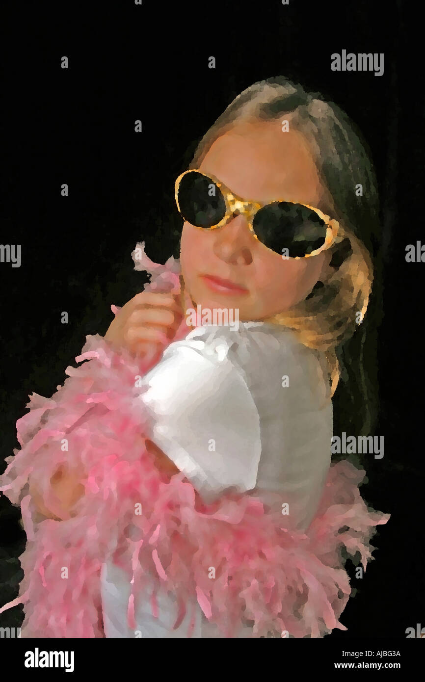 cute little girl playing dress up childs imagination digital art and