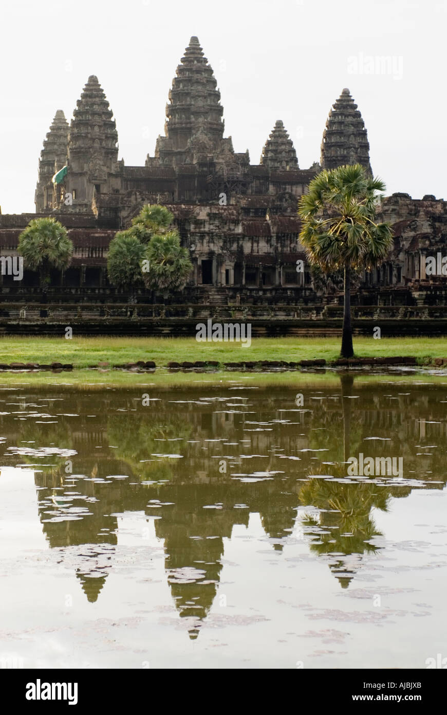 Cambodia Angkor Wat Reflection In Pond Siem Reap Stock Photo