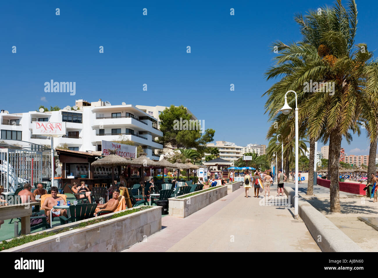 Beachfront Cocktail, Magaluf, Bay of Palma, Mallorca, Balearic Islands, Spain - Stock Image