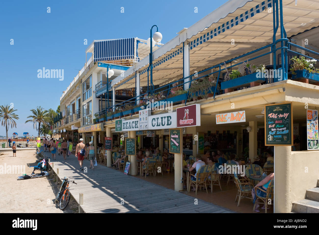 Beachfront Bars and Restaurants, Palma Nova, Bay of Palma, Mallorca, Balearic Islands, Spain - Stock Image