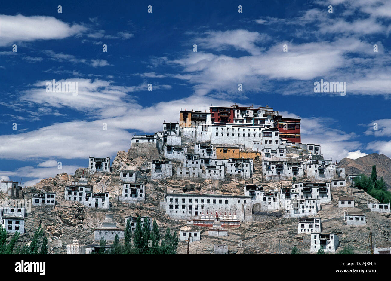 Ladakh is a Buddihist enclave of northern India also known as Little Tibet Thikse Gompa monastery - Stock Image