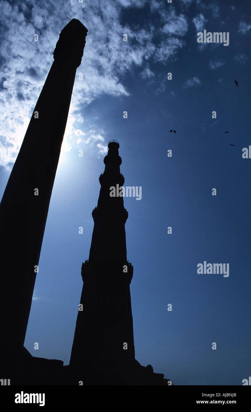 The historical Qutb Minar complex New Delhi India The 13th century sandstone tower India - Stock Image