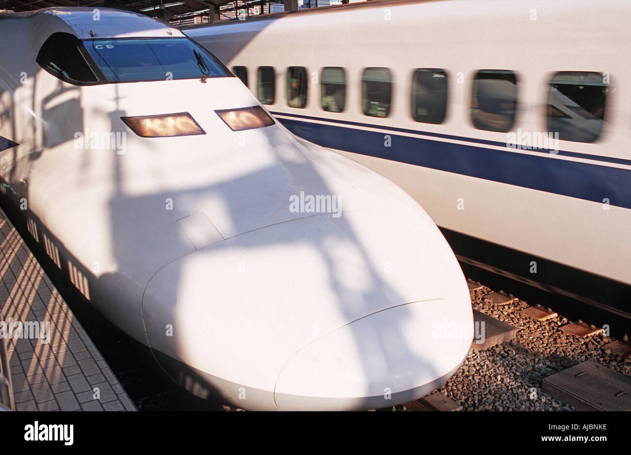 The Shinkansen Popularly known as the bullet train Photographed in Tokyo and bound for Osaka Japan - Stock Image