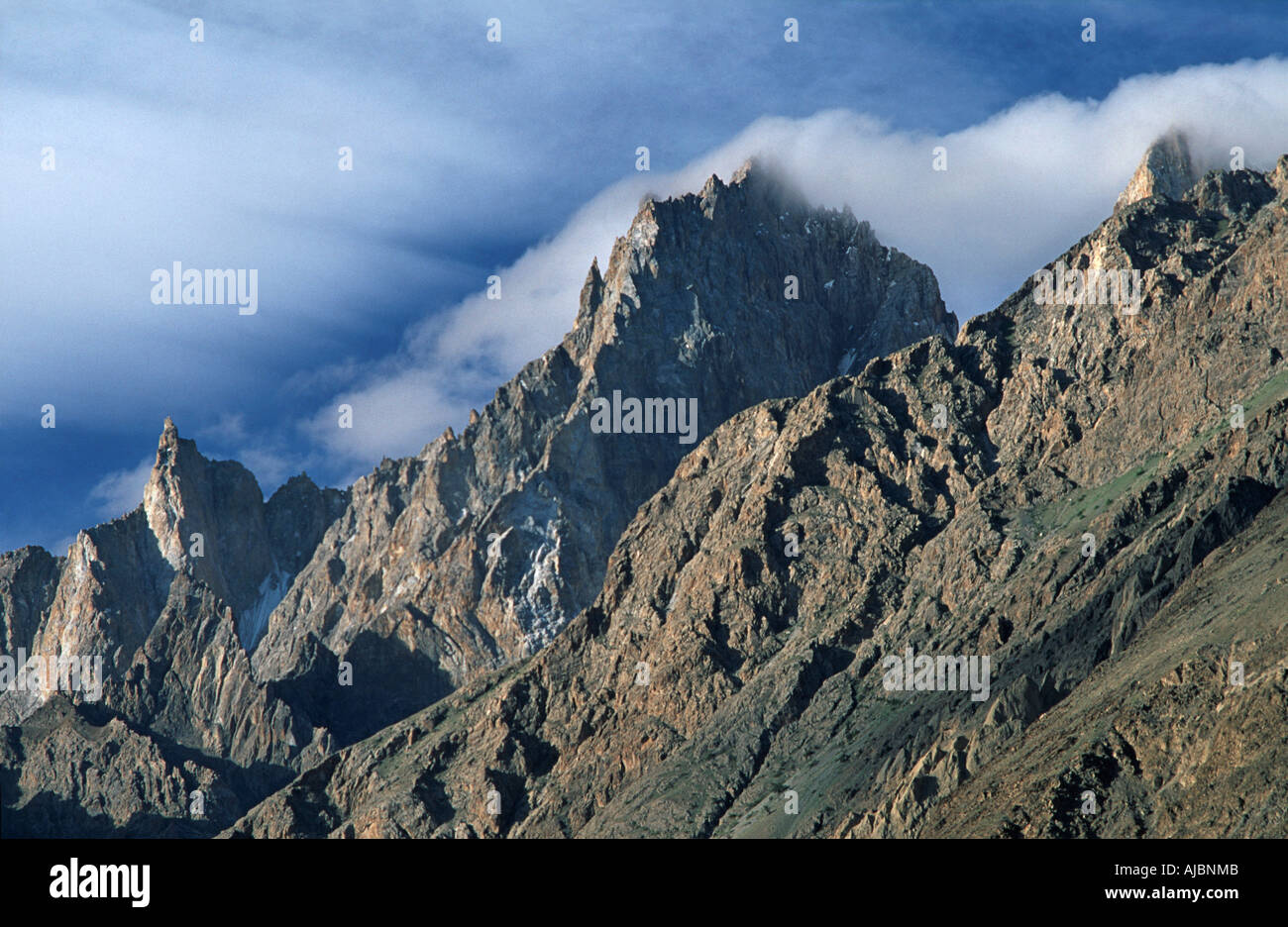 PAKISTAN mountain backdrop viewed from Sust in the northern reaches of the Pakistani end of the Karakoram Highway - Stock Image