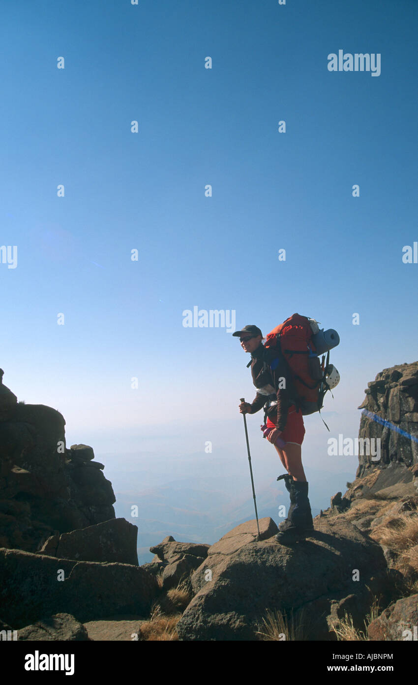 Hiker Standing Atop Giant's Castle Stock Photo
