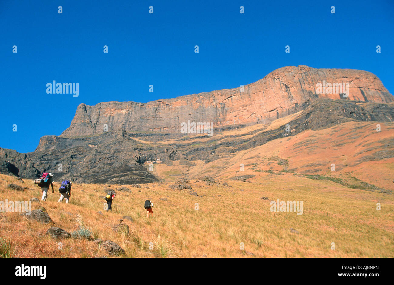Group of Hikers Walking up Giant Castle Stock Photo
