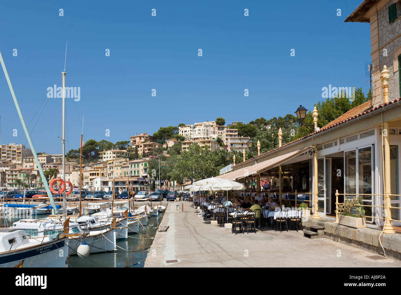 Restaurant on the harbourfront, Port de Soller (Puerto Soller), West Coast, Mallorca, Spain - Stock Image