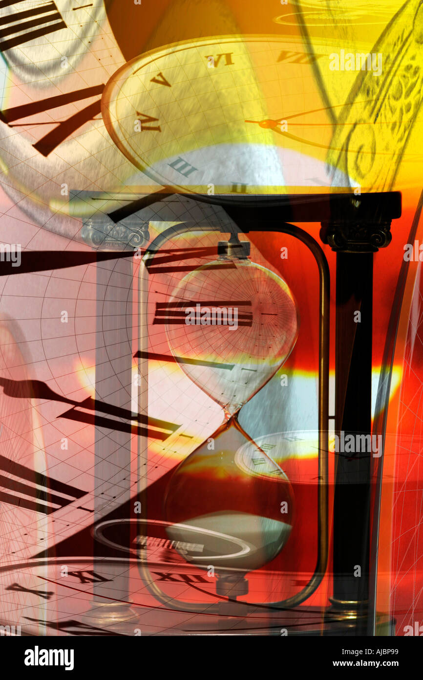 Concepts of Time and World Travel Hour Glass and Clock Faces and Sun  - Stock Image