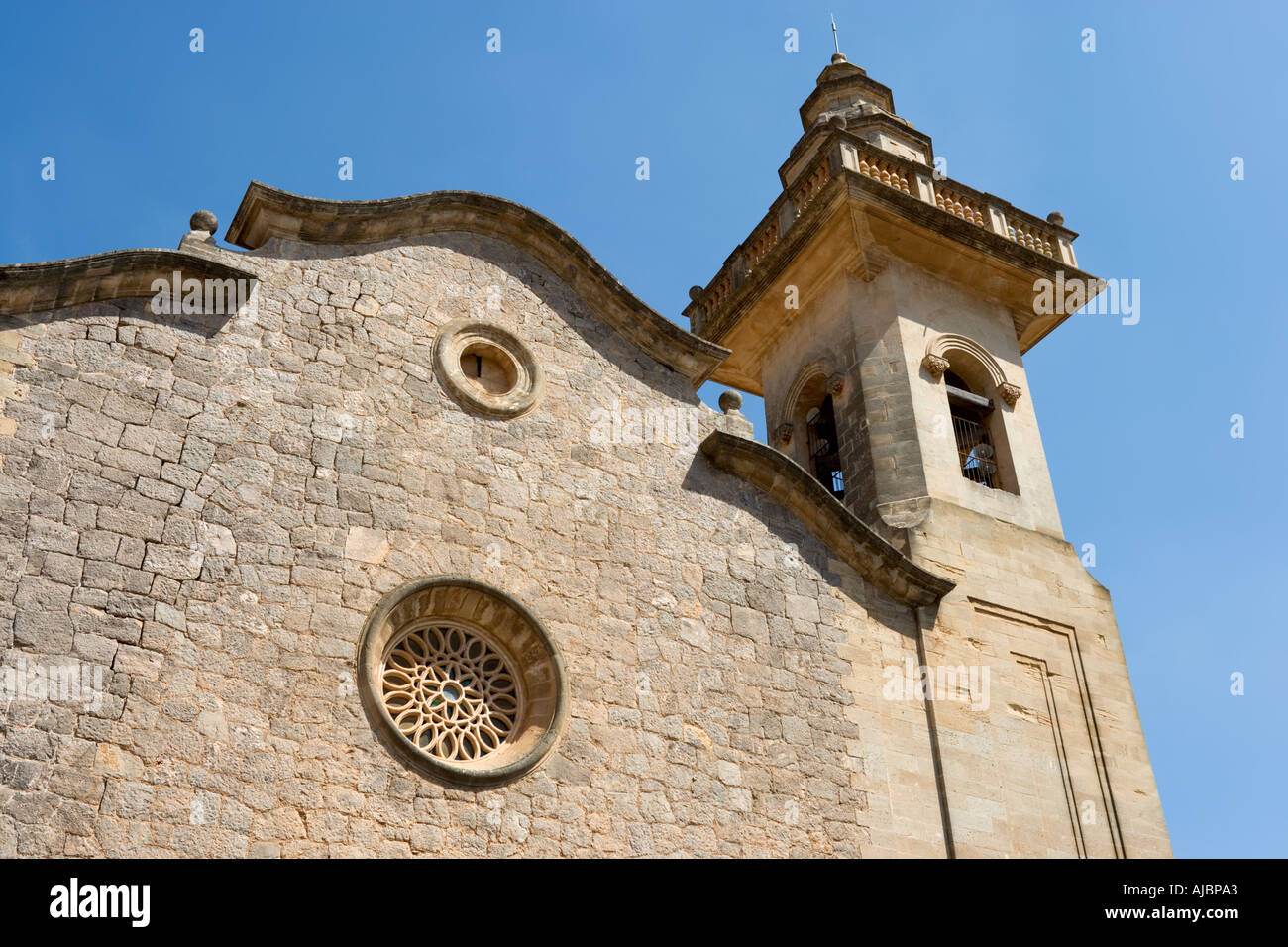 Parish Church of San Bartolome, Old Town of Valldemossa, West Coast, Mallorca, Spain Stock Photo