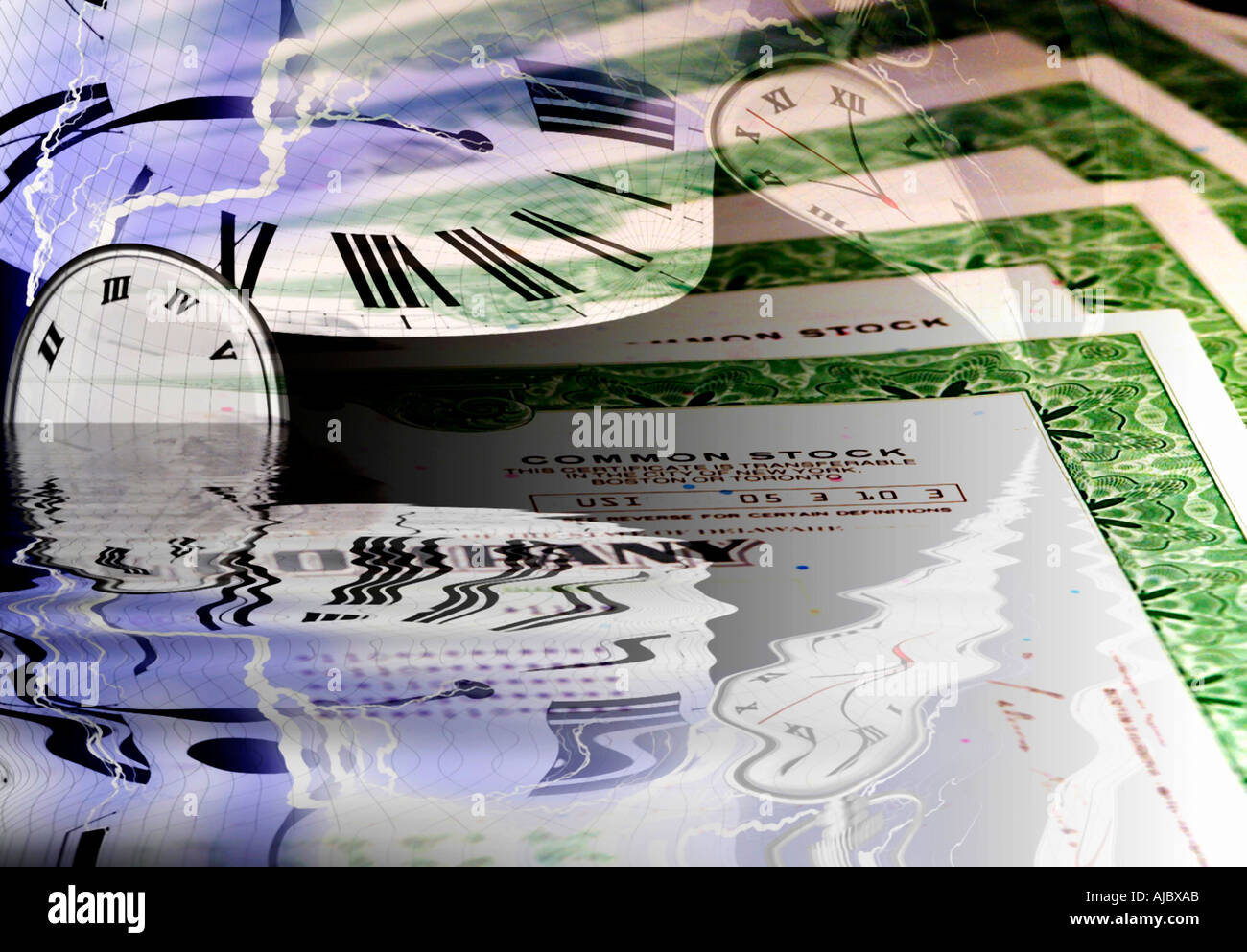 Stock Certificates and Clocks Stock Market Investments  - Stock Image