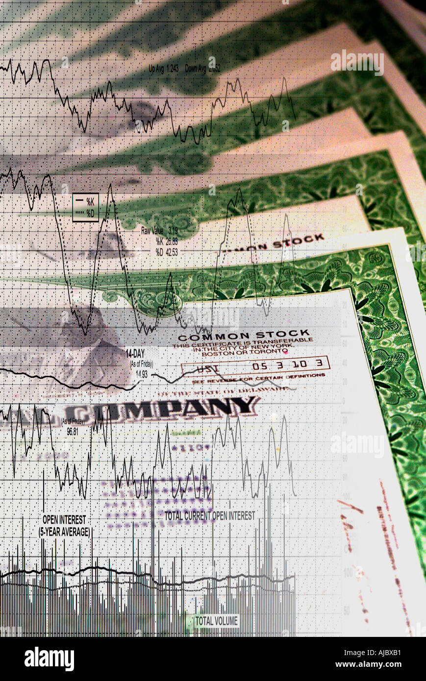 Signs and Symbols of Stock Market Certificates Graph Stock Photo