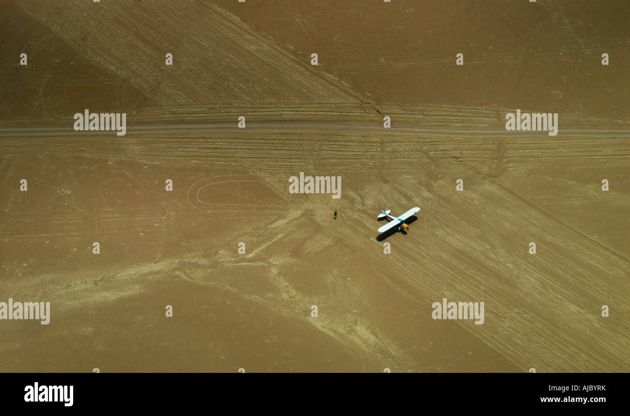 Small airoplane on a Desert Strip - Stock Image