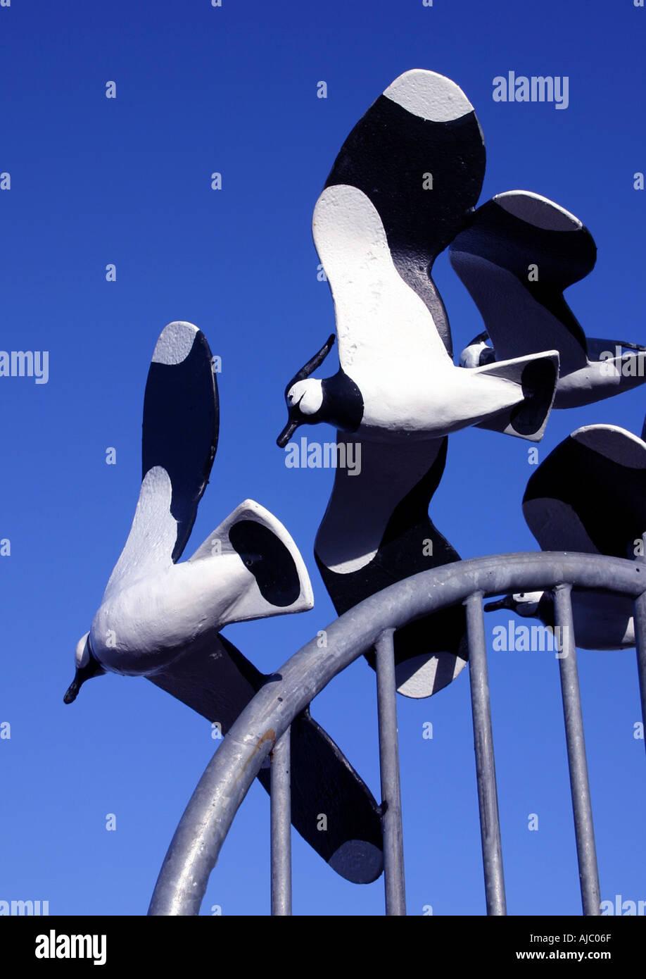 Bird sculpture on promenade Morecambe - Stock Image