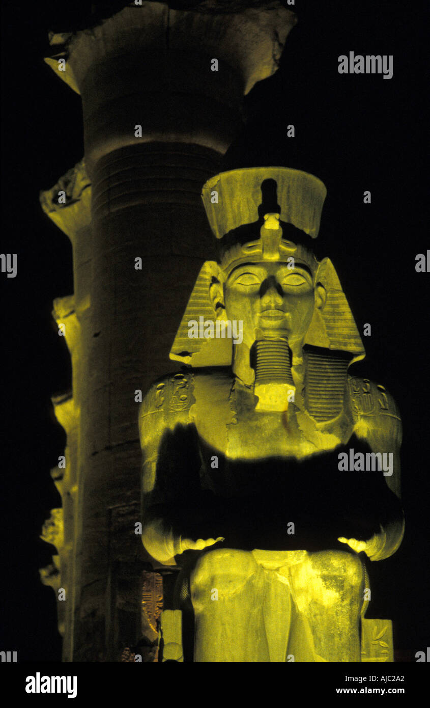 Luxor Temple at night Egyptial antiquities Luxor Egypt Court of Amenhotep and Ramses II at night Stock Photo