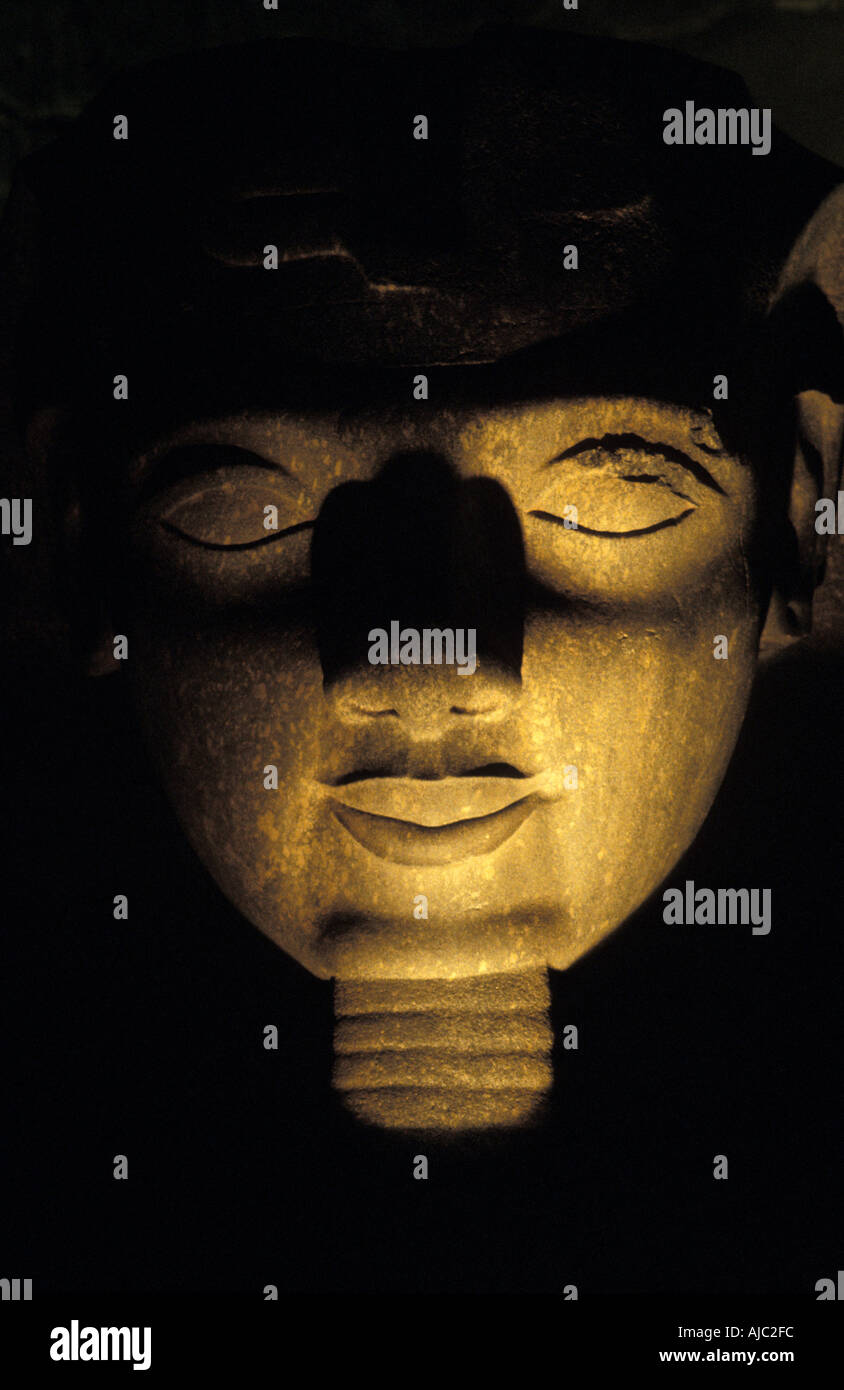 Luxor Temple at night Egyptial antiquities Luxor Egypt Ramses II s collosal head Stock Photo