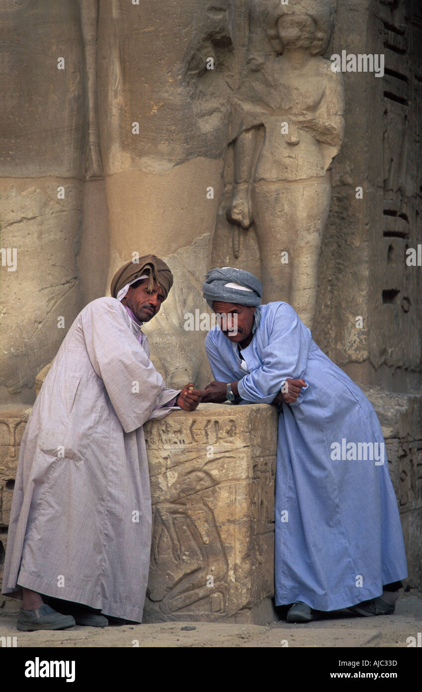 Thebes The site of Medinet Habu Egypt Guardians in the First Courtyard - Stock Image