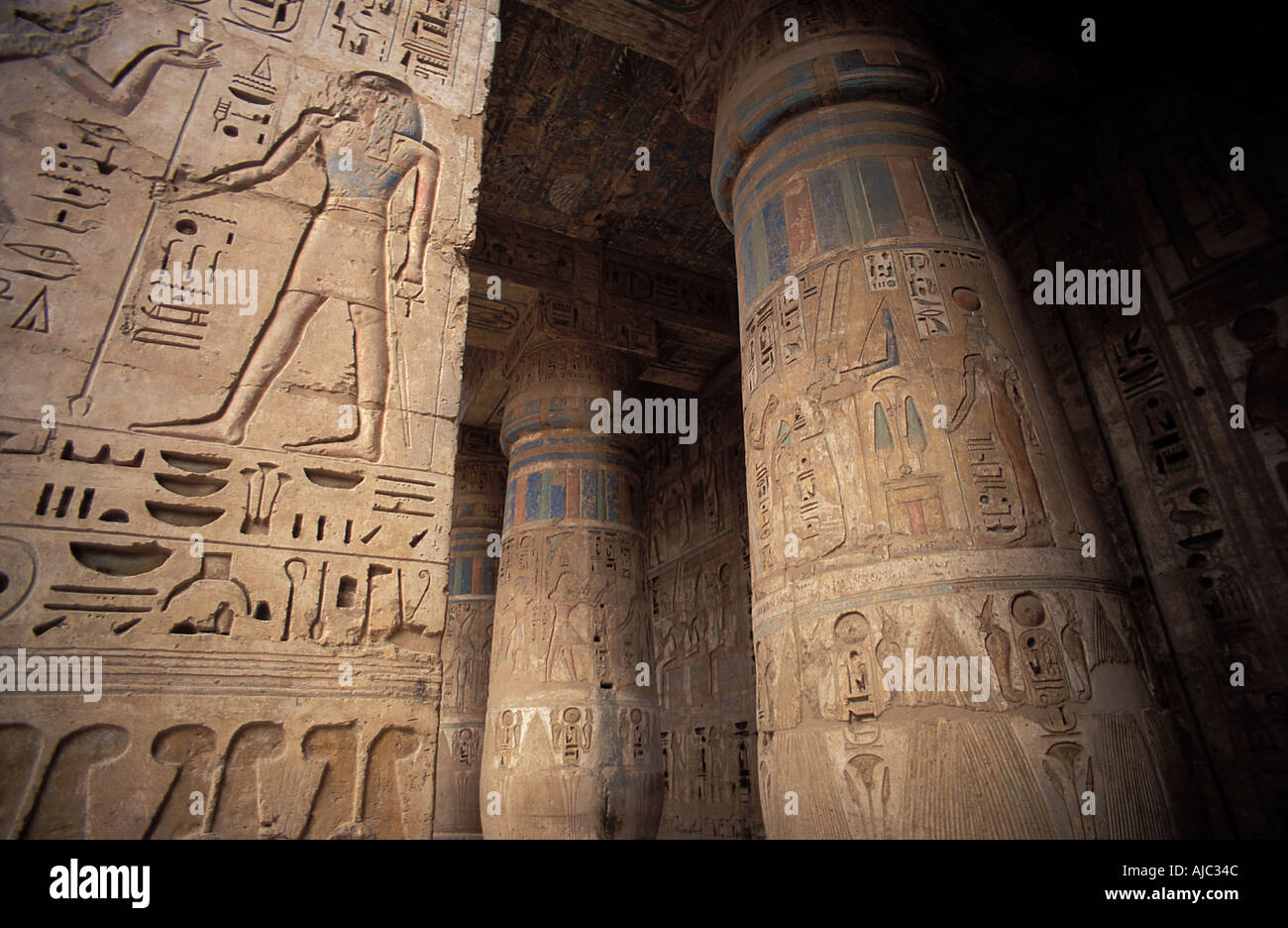 Thebes The site of Medinet Habu Egypt Columns and reliefs in the second courtyardStock Photo