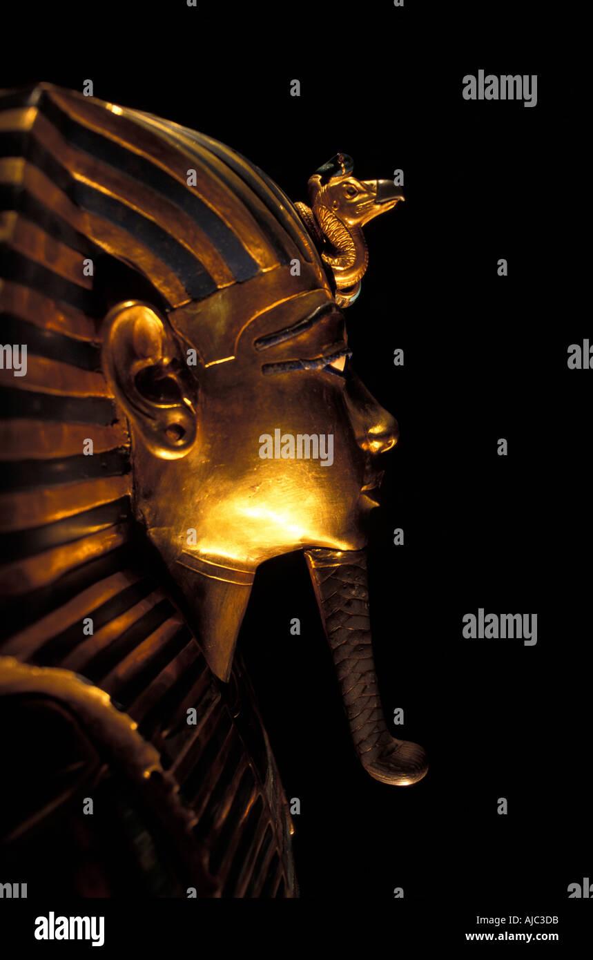 Tutankhamun s golden Death Mask profile Cairo Egypt - Stock Image