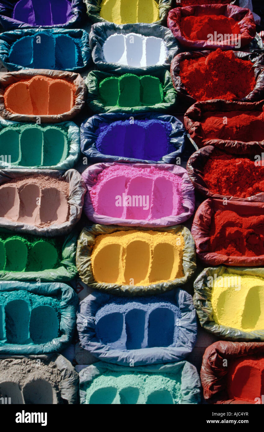 Brightly Coloured Powdered Dyes - Stock Image