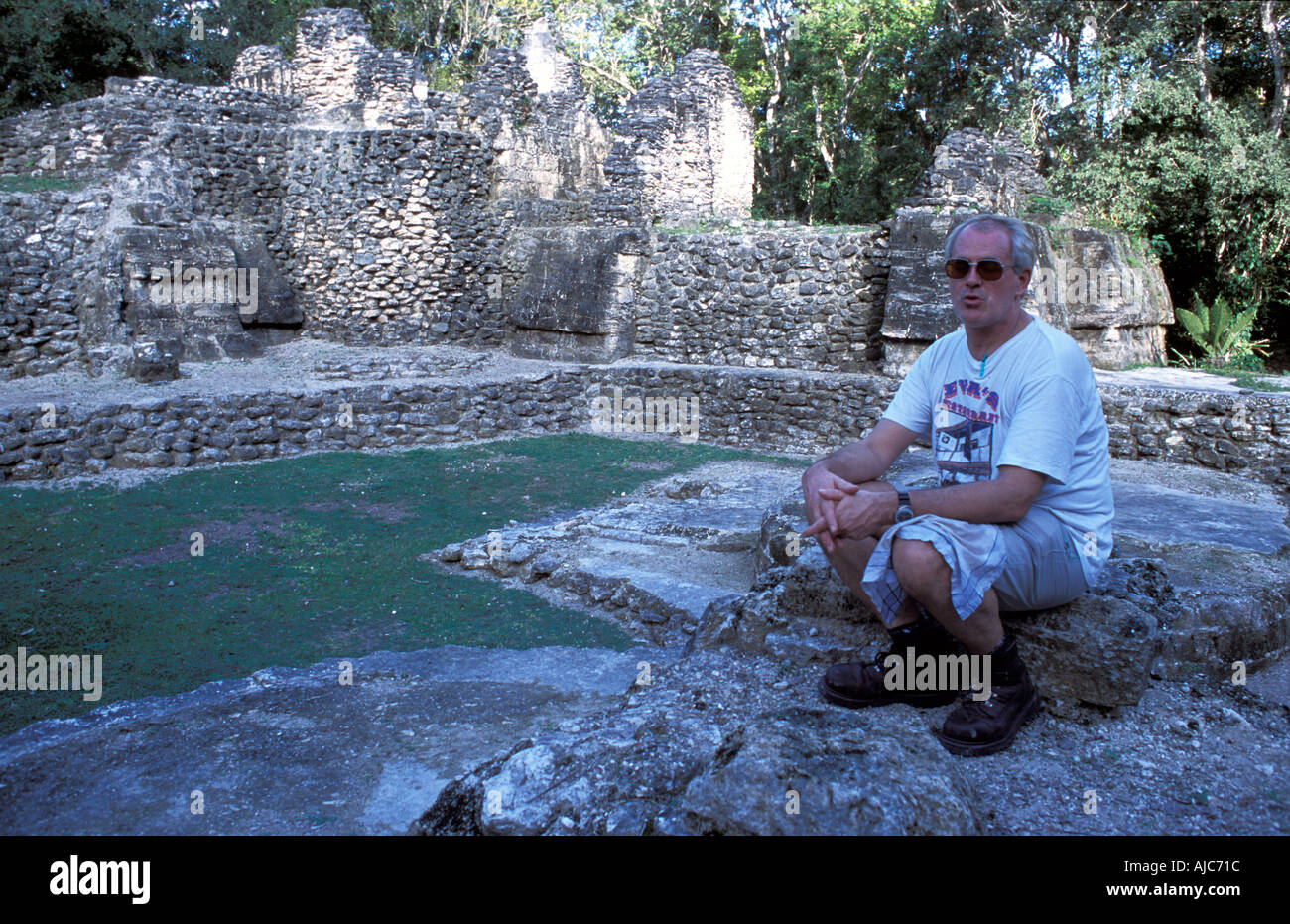 The ancient Maya site of Uaxactun north of Tikal El Peten Guatemala Bestselling Rough Guide author Peter Eltringham - Stock Image