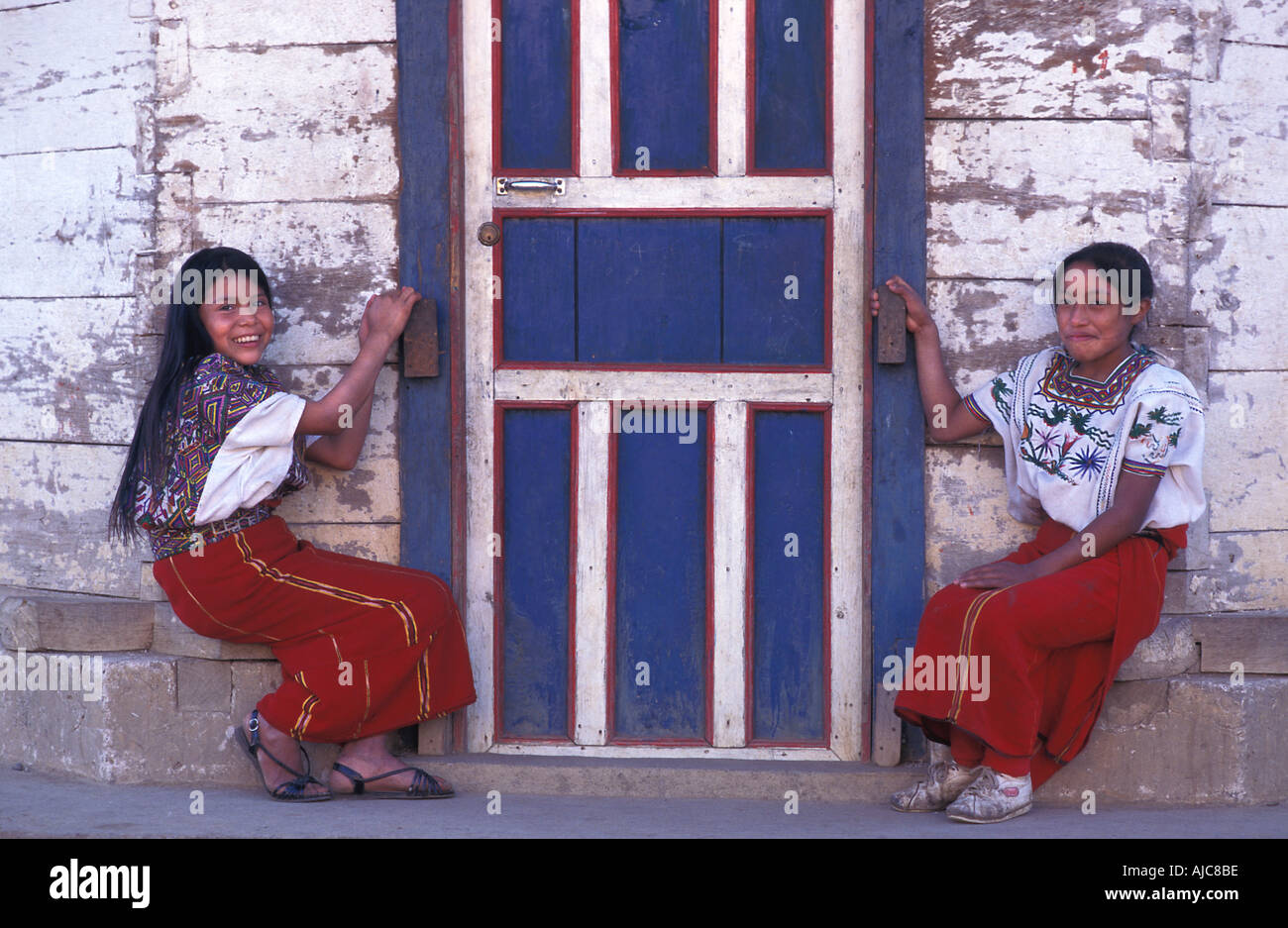 Elena and Maria Ixil speaking Maya from Nebaj Ixil Triangle El Quiche Guatemala - Stock Image