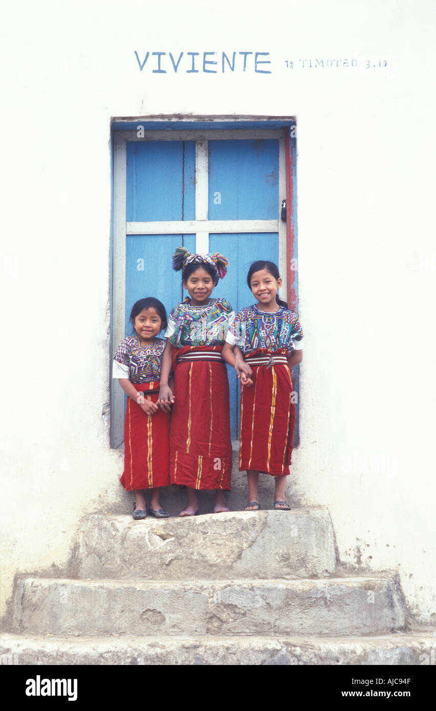 A group of Ixil Maya girls Nebaj Ixil Triangle El Quiche Guatemala - Stock Image