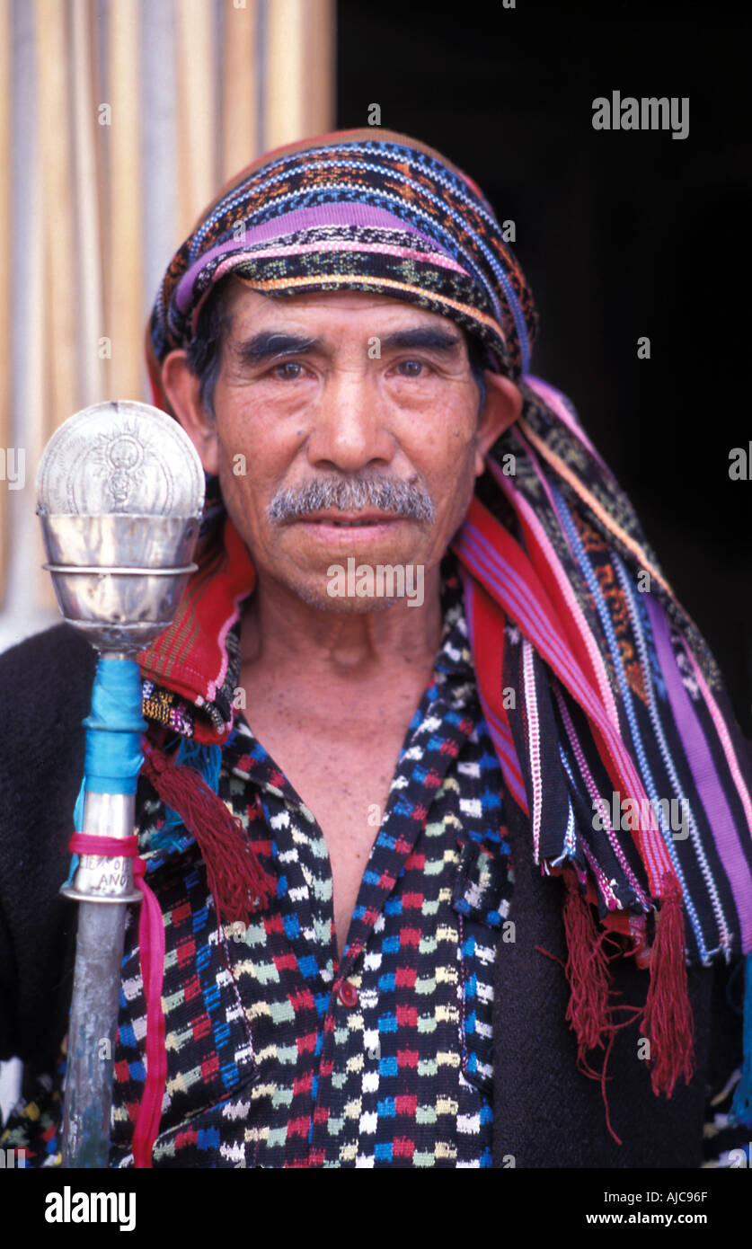 A cofrade religious elder of a Cofradia cult of a saint in traditional dress Santiago Atitlan Lake Atitlan Guatemala - Stock Image
