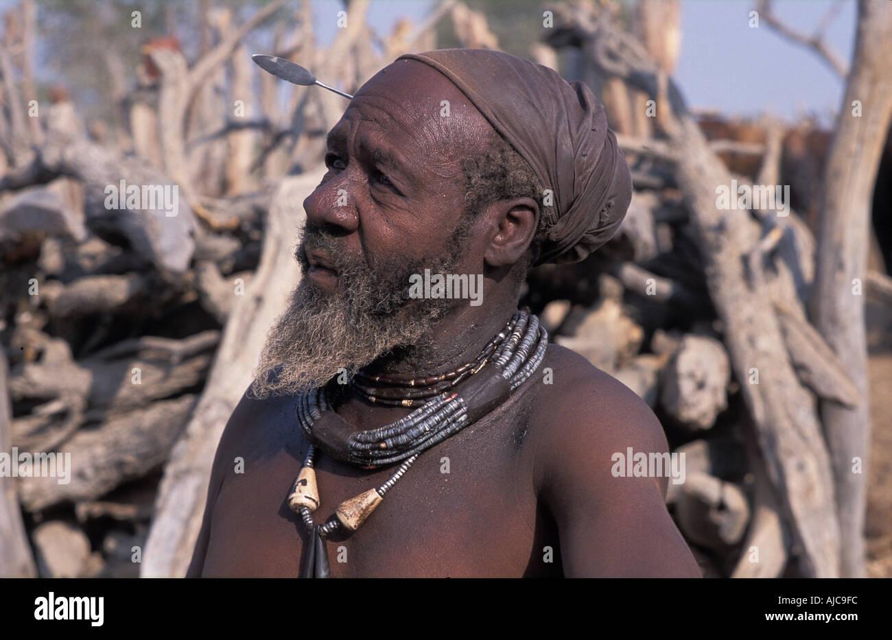 Himba Chief Kaokoveld tribal areas North west of Opuwo Namibia - Stock Image