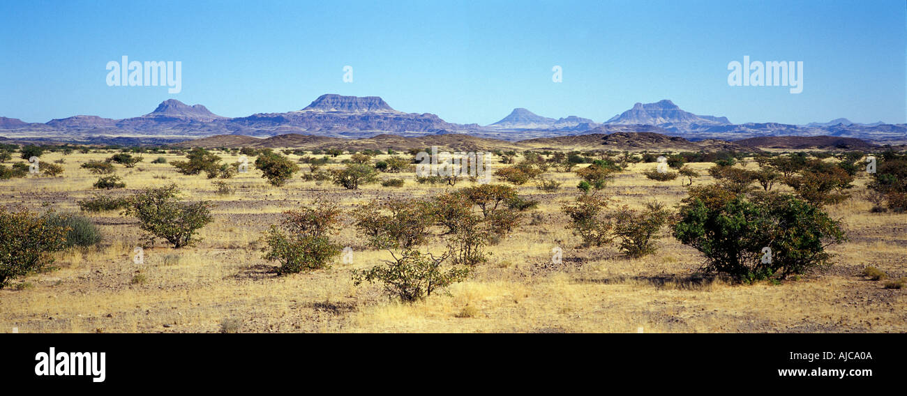 Panoramic landscape viewed from Palmwag to Sesfontein rd Extinct volcanoes and tabletop mountains line the horizon Namibia - Stock Image
