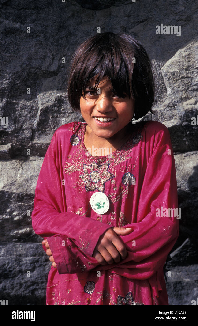 Pakistani girl from the Hunza valley photographed near Altit Fort Karimabad - Stock Image