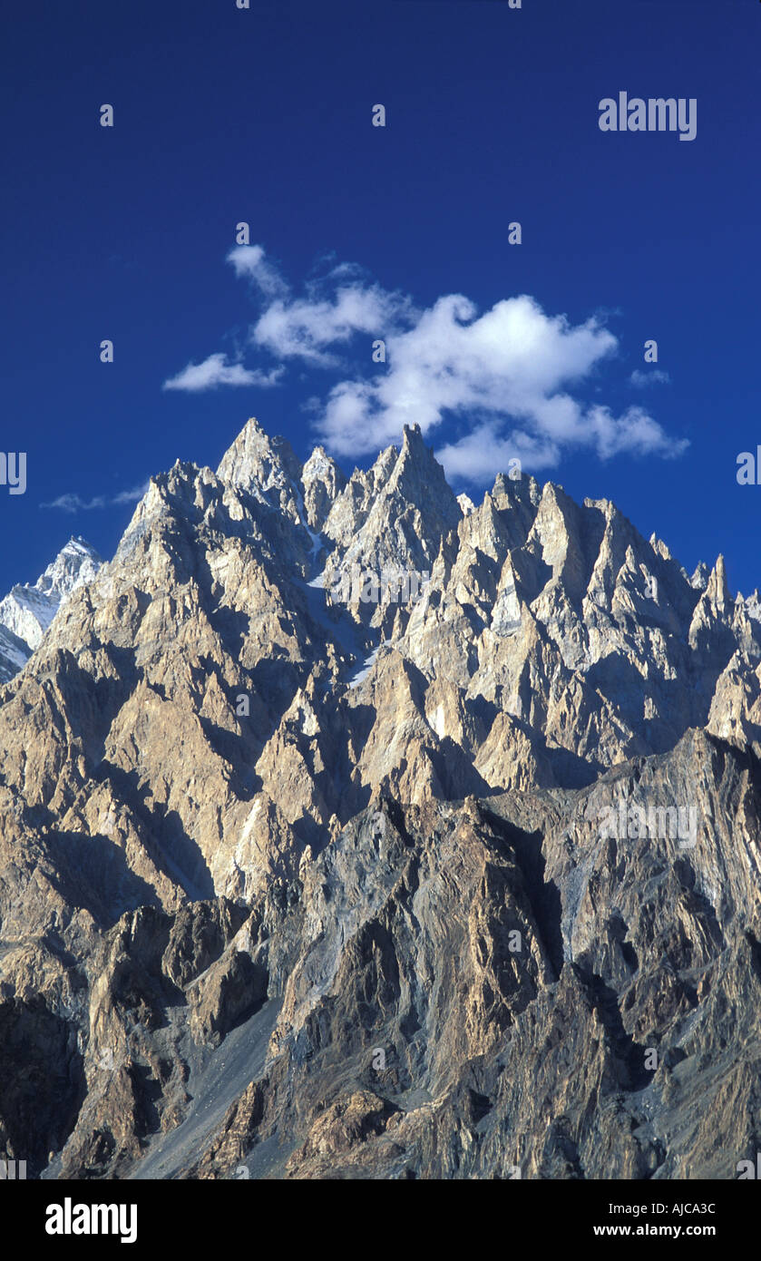 The Tupopdan or Cathedral Spires of Passu 6106m Visible from the Karakoram Highway Gojal Upper Hunza N Pakistan - Stock Image