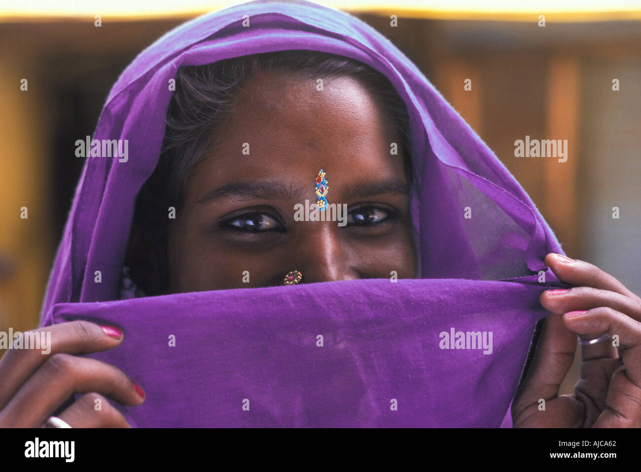 Friendly Hindu woman from Uttar Pradesh with purple headcloth veiling her smile India - Stock Image