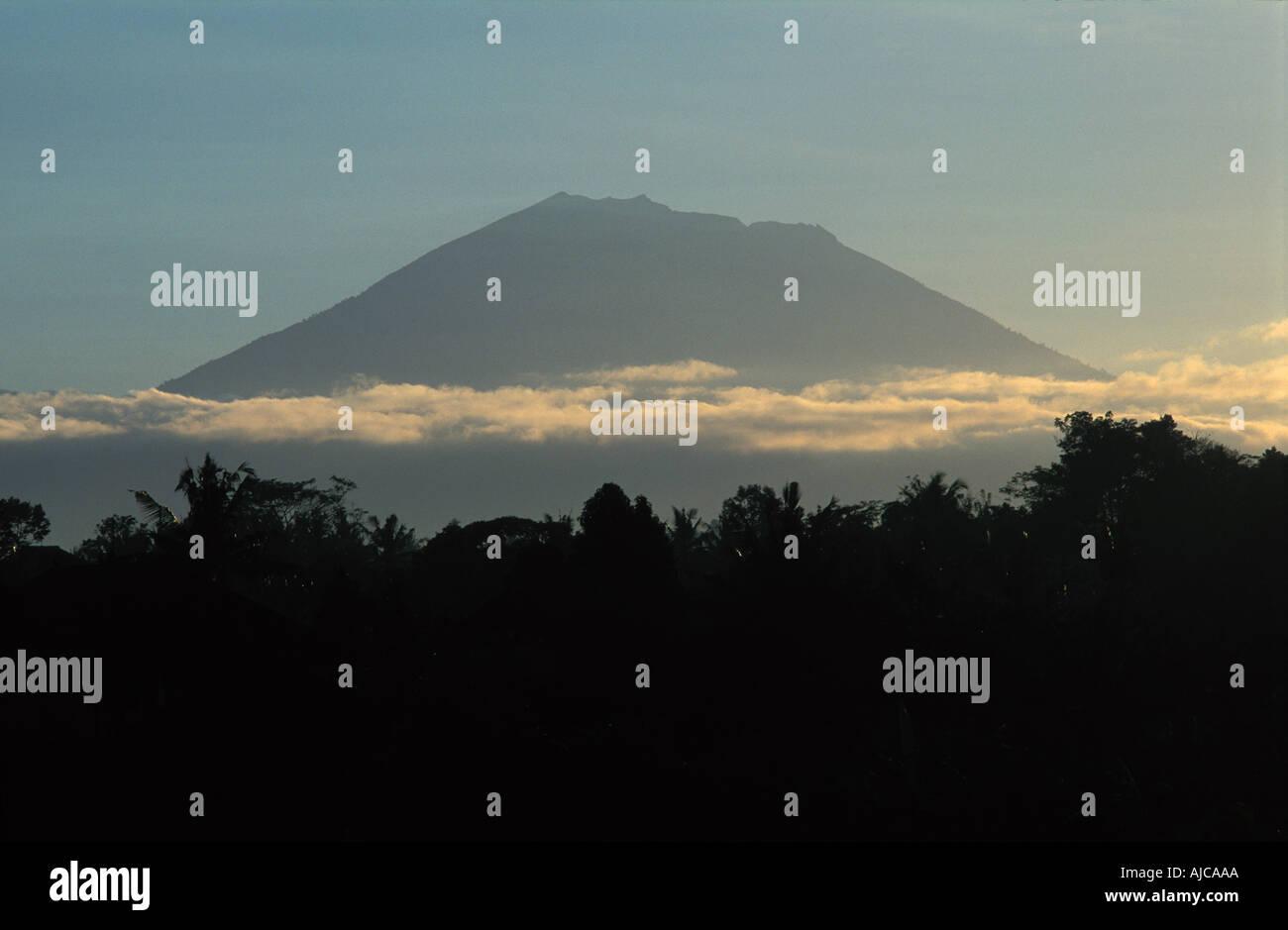 Gunung Batukau Central Bali Indonesia Viewed from Ubud at dawn Stock Photo
