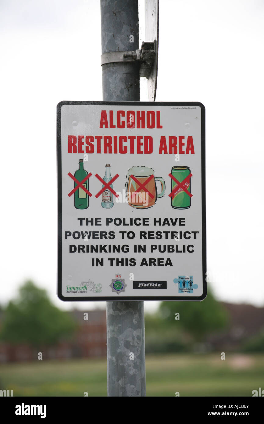 Alcohol Restricted Area sign 001 - Stock Image