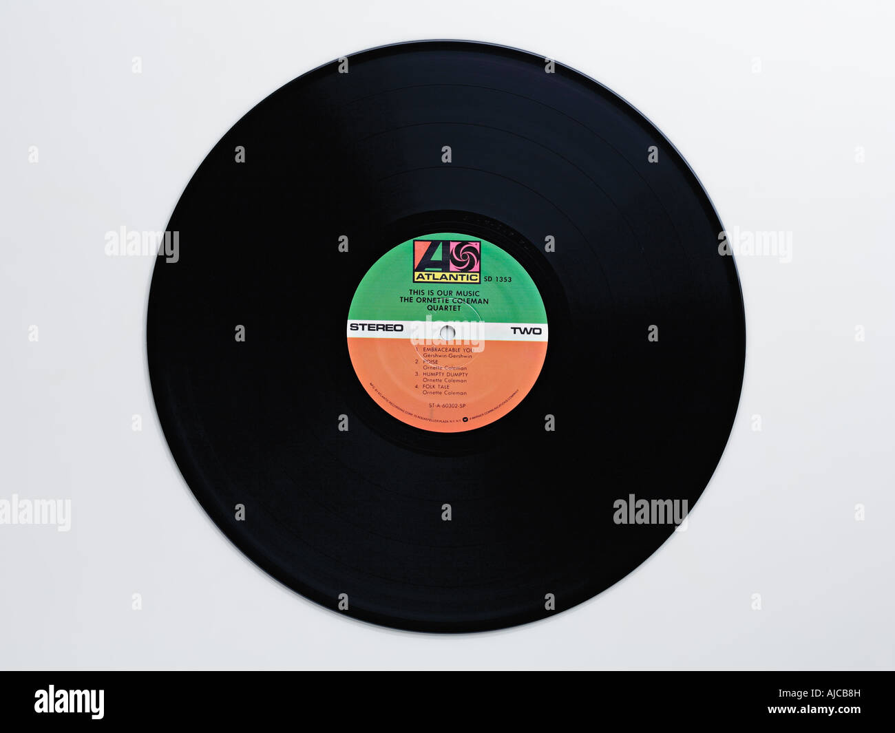 Vinyl record on white background - Ornette Coleman, 'This Is Our Music', released 1960 - Stock Image