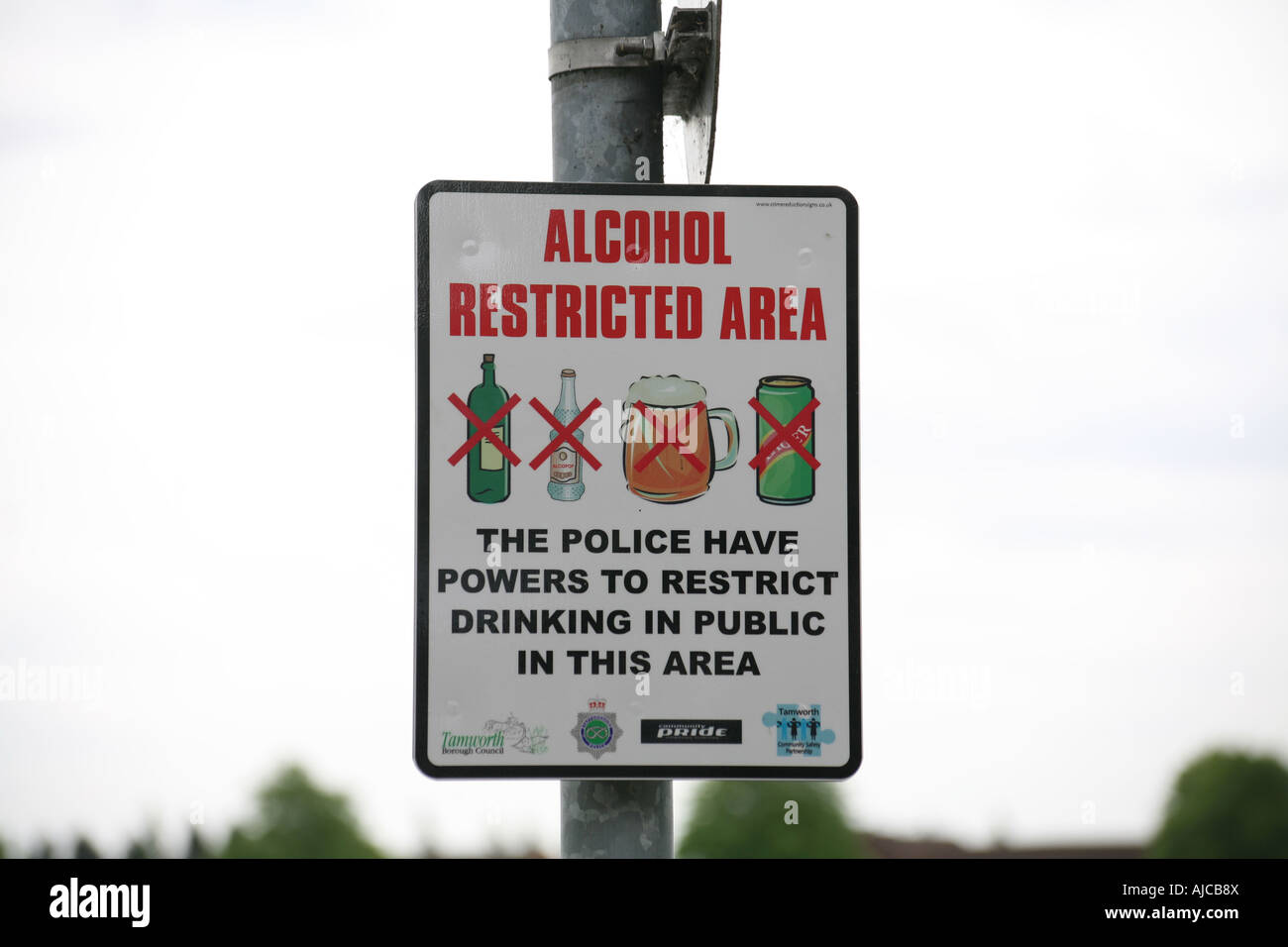 Alcohol Restricted Area sign 002 - Stock Image