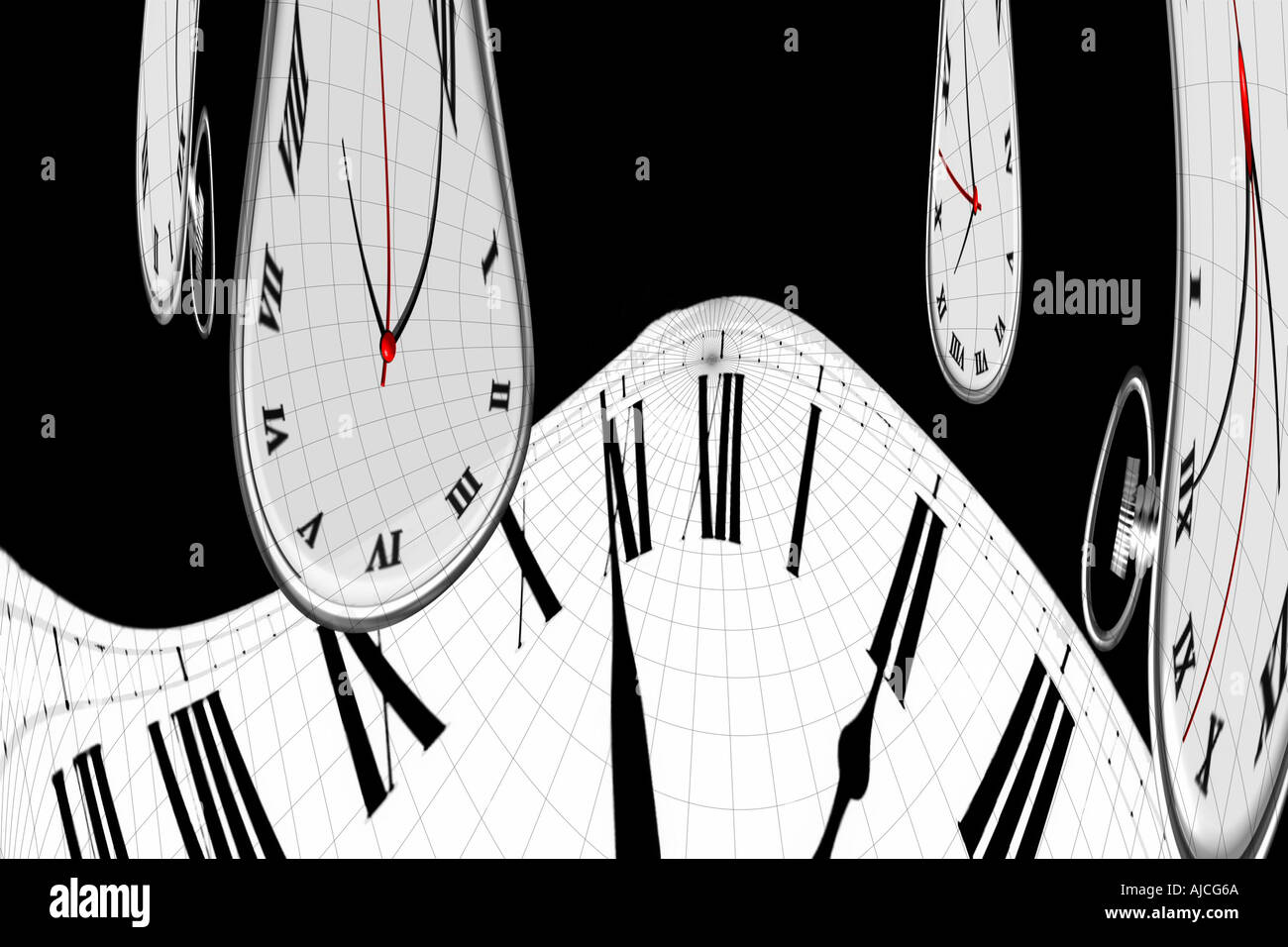 Time Watch Clock Distorted Concepts and Symbols of Time - Stock Image