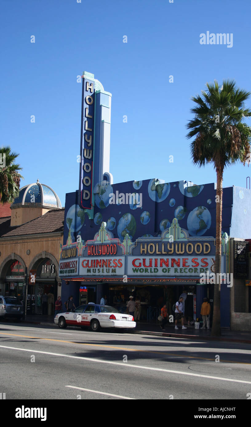 exterior view of Hollywood Guinness World of Records Museum and palm tree Los Angeles October 2007 - Stock Image