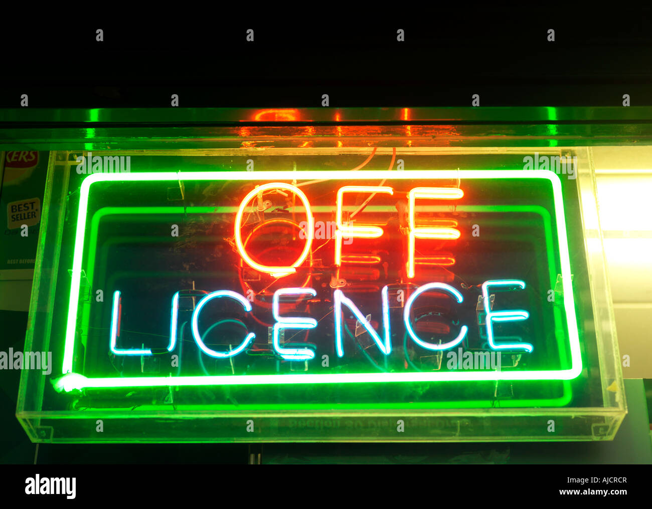Off Licence Sign Nork Surrey England - Stock Image
