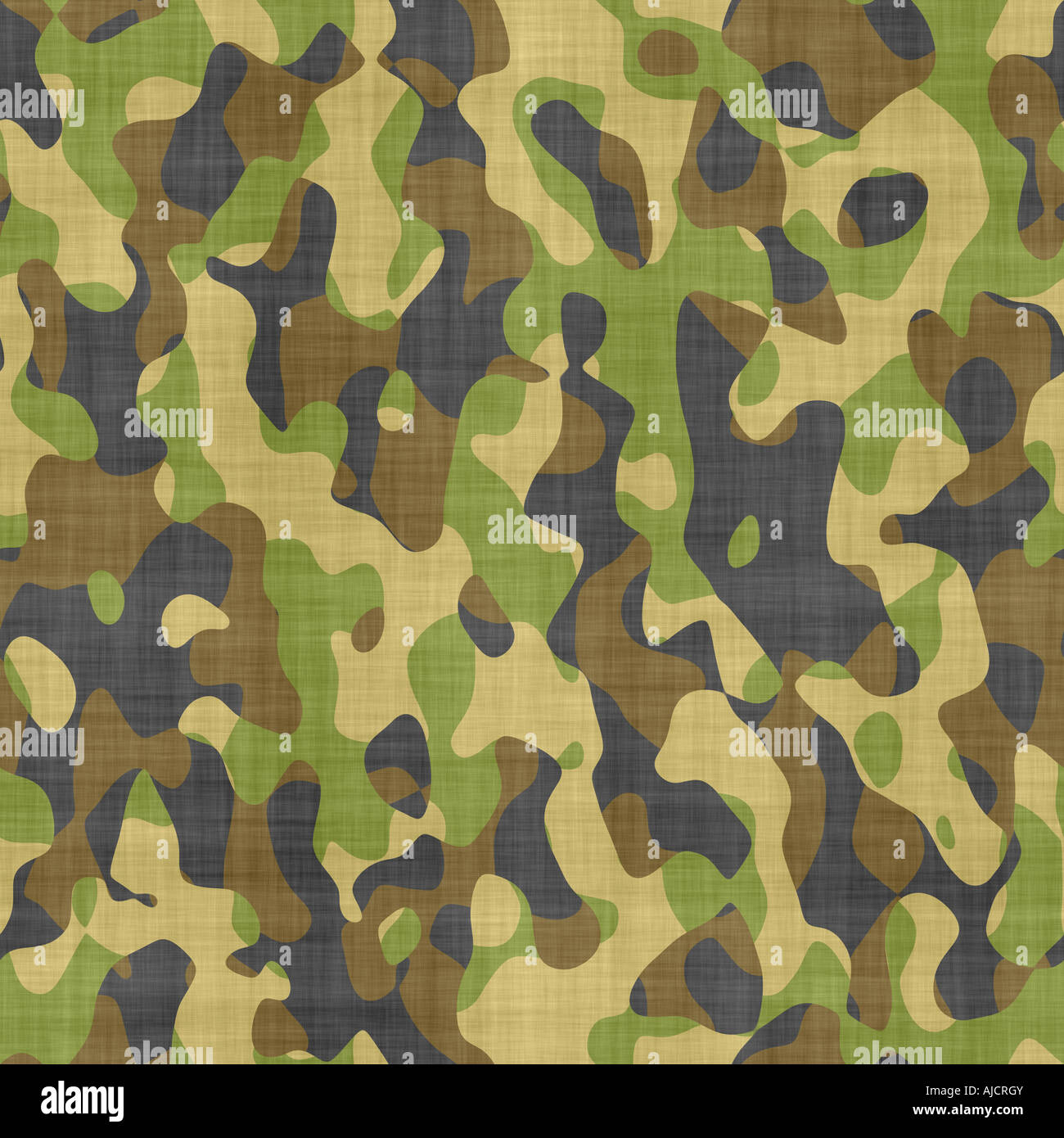large seamless image of cloth printed with military camouflage pattern - Stock Image
