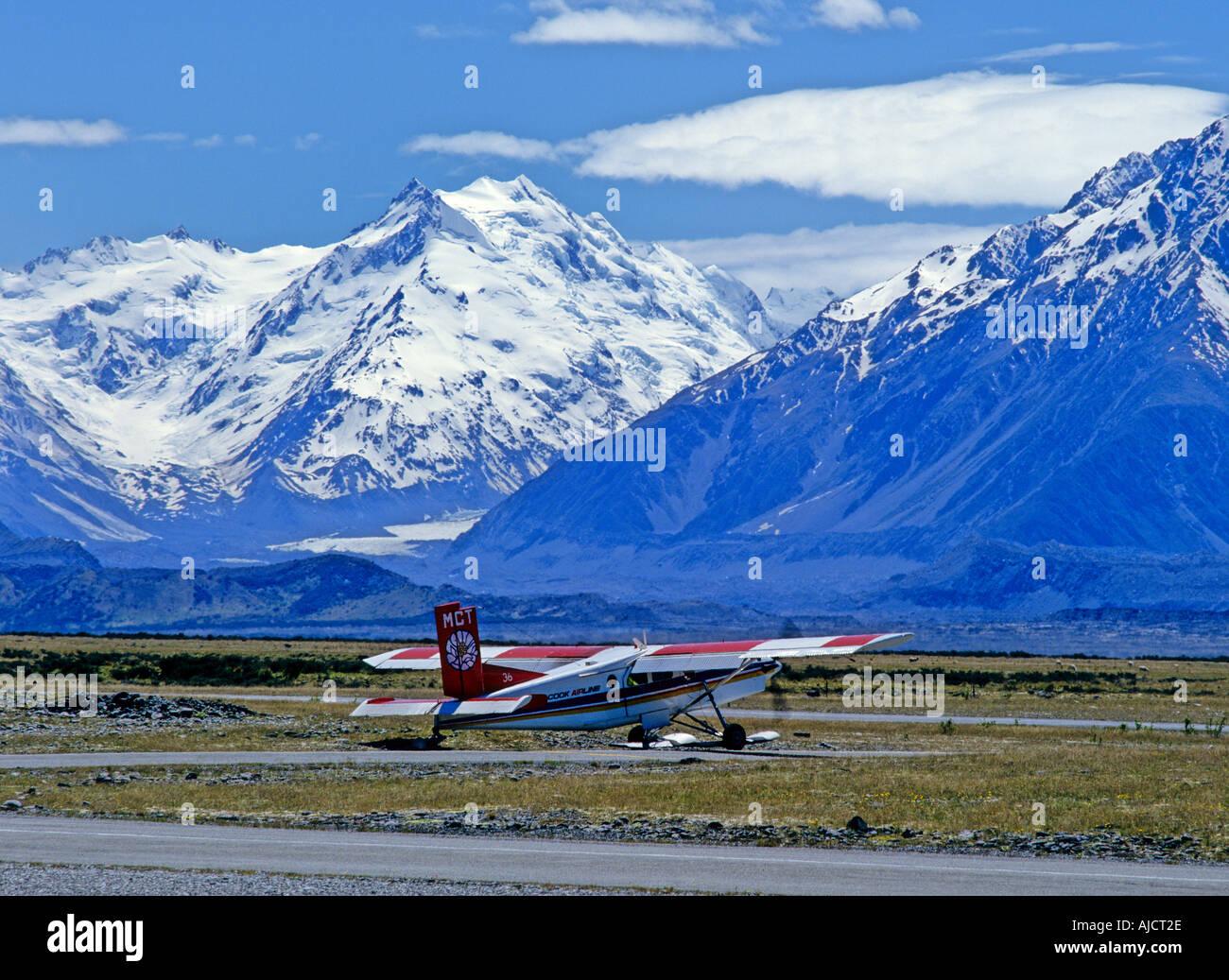 Mount Cook Airline Pilatus PC-6 Turbo Porter ski plane in Mt Cook Airport  New Zealand - Stock Image