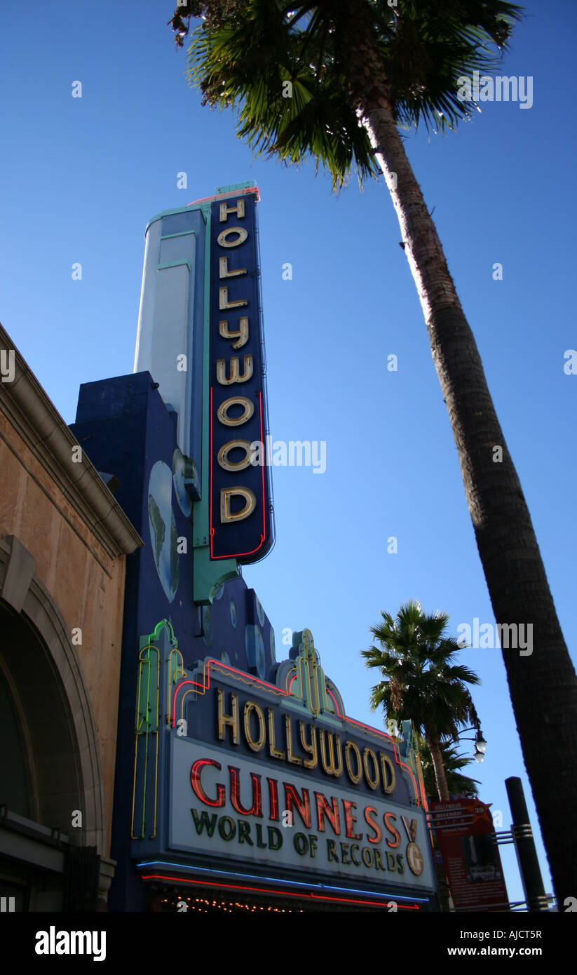 exterior view of Hollywood Guinness World of Records Museum and palm tree  October 2007 - Stock Image
