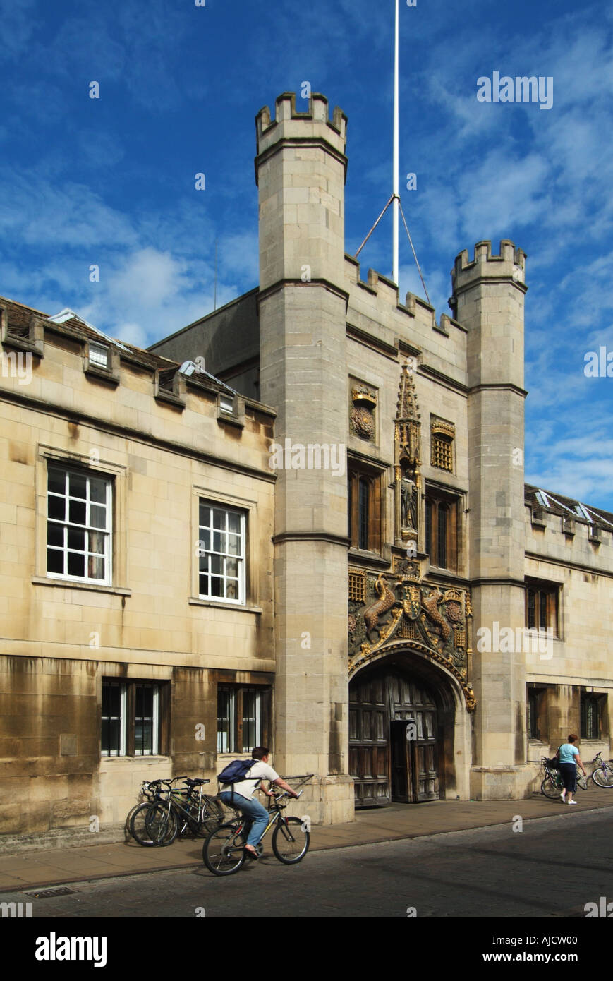 Christs College Cambridge University corrected for converging verticals - Stock Image