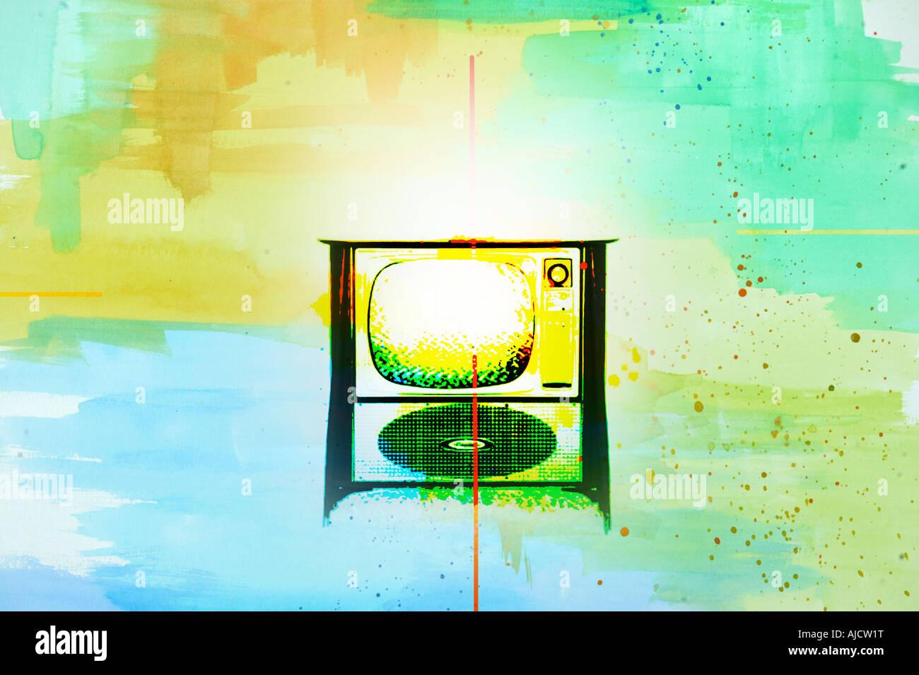 vintage TV antique vintage old tv television in surreal photo illustration - Stock Image