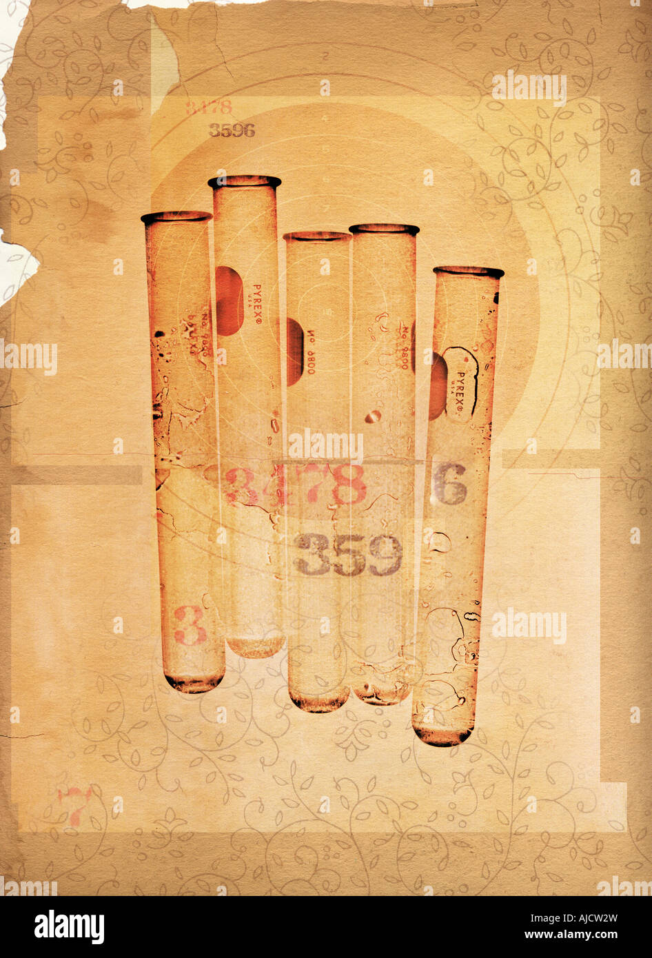 row of testubes with target in background on vintage paper showing forensics - Stock Image